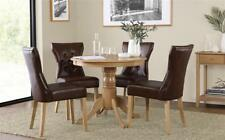 Kingston Round Oak Dining Table - with 4 Bewley Club Brown Chairs