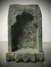 ANTIQUE VINTAGE INDIAN NICHE GREEN QUARTZITE. WALL MOUNTED OIL /GHEE LAMP 19TH c