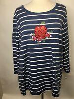 Karen Scott Women's Strawberry Navy & White Stripe Long Sleeve Shirt 3X B72