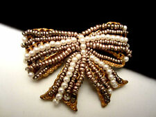 "Rare Vtg 2"" Signed Miriam Haskell Goldtone Hand Wired Seed Bead Bow Brooch Pin"