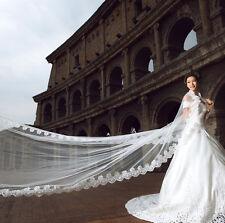 333v Bridal 5m Long Charming Romantic Embroidered Lace Edge White Wedding Veil