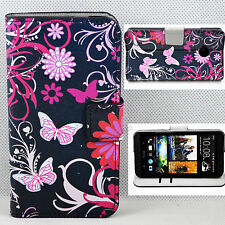 Black Leather Skin Wallet Folding Stand Phone Cover Case For HTC One M7 801e
