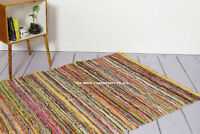 100% Recycled Cotton Handmade Mat Yellow Coloured Chindi Floor Rag Rug Indian