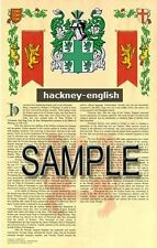 HACKNEY Armorial Name History - Coat of Arms - Family Crest GIFT! 11x17