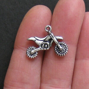 6 Motorcycle Charms Antique Silver Tone Dirtbike Two Sided - SC751