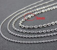"""16"""" 3mm Stainless Steel Link Chain for Pendant Silver Tone Necklace STlnk3S"""