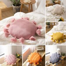 Knitted Cushion Round Pillow Pom Pom Tassel Home Decor Sofa Waist Throw Bed Soft
