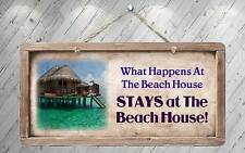 """758HS What Happens At Beach House Stays At 5""""x10"""" Aluminum Hanging Novelty Sign"""