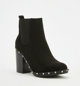 Heeled Chelsea Boots Size 8 Womens Black Ankle Block Heel Studded Faux Suede NEW