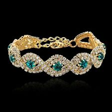 18K GOLD PLATED & GENUINE CLEAR & EMERALD GREEN CUBIC ZIRCONIA TENNIS BRACELET