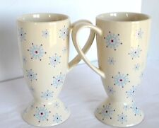 2 Whittard Of Chelsea Holiday Winter Snowflake Stoneware Tall Coffee Tea Cup Mug