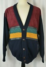 Bottega Fiorentina Men's Cardigan Sweater Size Large Wool Suede Leather Colorful