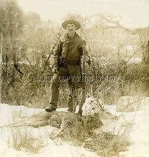 ANTIQUE REPRO 8X10 DEER HUNTING PHOTO OF COWBOY WINCHESTER 1876 RIFLE AMMO BELT