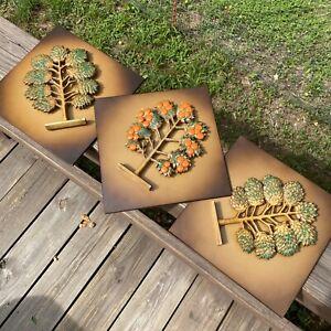 "Lot of 3 Syroco Mid-Century Modern 10"" Wall Plaques 2 Green Trees 1 Orange Tree"