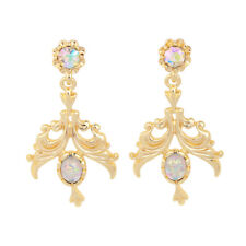Color Opal Bead Gold Earrings New Urban Anthropologie Abree Victorian Multi