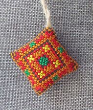Ukrainian Embroidered Needle Pin Cushions Pillow,Fabric Xmas Ornament,Red 1.5""