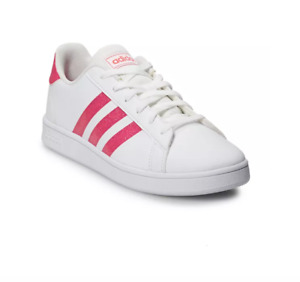 adidas Grand Court Sparkle Shoes Authentic New Big Girls 7 Casual White and Pink