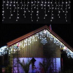400 LED 15m PREMIUM EISREGEN-LICHTERKETTE~KALTWEISS~WEIHNACHTSBELEUCHTUNG~IP44~
