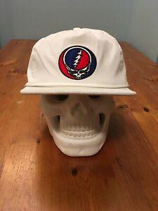 White Corduroy Snap Back Hat Cap Grateful Dead Stealie Hippie Garcia Trucker Lot