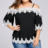 Women Summer Loose Off Shoulder T-Shirt Short Sleeve Tops Blouse Tee Plus UK