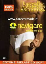 3 Slip hombre Navigare de algodón bi-elástico con elástico rosca + logo art 574