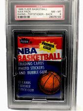 1986 Fleer Basketball Wax Pack PATRICK EWING RC TOP & BACK PSA 8 Michel Jordan