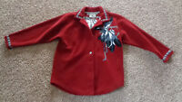 County Clothing Co Women's Coat Jacket SMALL - RED W/ Trim & printed feathers