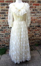 BEAUTIFUL VINTAGE COUNTRY ELEGANCE CALIFORNIA LACE BEIGE/IVORY GOWN DRESS SZ 10