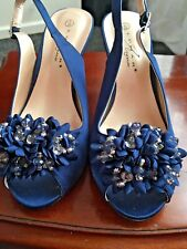 Evening Shoe Navy Satin Crystal Front Peep Toe Sling Back Size 3