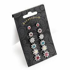 6 Pairs of Silver Flower Stud Earrings Assorted Colours Crystal Effect Gift Set