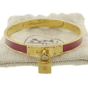 Authentic HERMES Kelly Bangle Bracelet Gold Leather #f02428