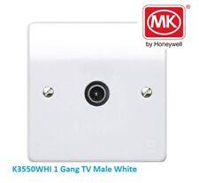 MK ELECTRIC Logic Plus K3550WHI 1 Gang TV Male socket outlet white moulded