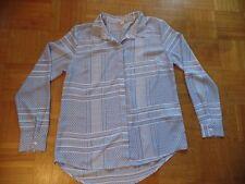 Amisu New Yorker Bluse Hängerchen Shirt weiß blau geometisch Sommer Gr. M 38 40