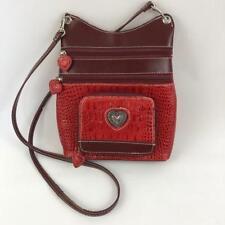 Silverake Crossbody Purse Handbag Red Brown Multiple Zipper Pockets