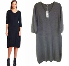 $258 Eileen Fisher V-Neck Lantern Dress Small 6 8 Charcoal Grey Merino Wool NWT