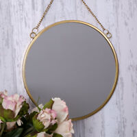 Gold Hanging Wall Mirror Round Modern Chic Vanity Hallway Bedroom Trendy Decor