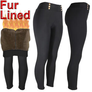 Womens Warm Fleece Fur Lined  Black Winter Thick Stretch Thermal Pants Legging