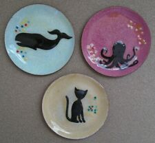 """3 Small Metal Plates Octopus, Whale & Cat Urban Outfitters 3.8"""""""