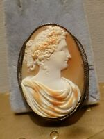 Antique Victorian 14k gold carved shell cameo filigree brooch pin goddess 15.2g