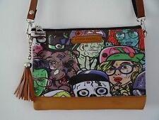 B-MOVIE HORROR NERO HANDBAG-Teschio Zombie Mostro FUMETTO BORSA Pochette Marrone