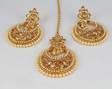 Ethnic Indian Fashion Jewelry Women New Gold Plated Earring Maang Tikka