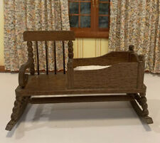 1:12 Dollhouse Miniature Vintage Wood Nanny Rocker, Chair/crib  Baby Furniture