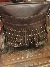 B Makowsky Brown Studded Motorcycle Fringe Leather Shoulder Bag/Purse