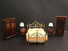 Vintage Victorian Concord Miniatures Bedroom Set Brass Bed Wardrobe Curio
