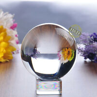 Clear Glass Crystal Ball Magic Healing Meditate Sphere Photography + Stand