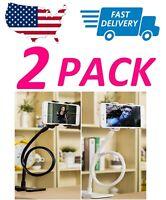 2x Lazy Bracket Universal Flexible Mobile Phone Stand Mount Holder Bed Desktop