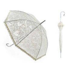 Beautiful Victorian Style White Hearts & Lace Bridal Wedding Umbrella Parasol