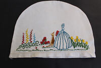 Vintage off-white hand embroidered crinoline lady tea cosy.