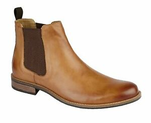 Mens Leather Smart Slip On Twin Gusset Chelsea Casual Ankle Boots Shoes Size