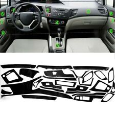 For Honda Civic 2012-2014 Interior Carbon Fiber Decal Sticker Wrap Trim Dash Kit